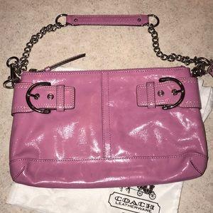 Coach pink/silver clutch purse